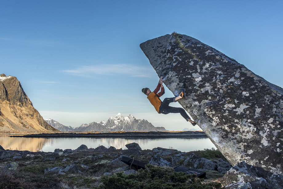Selfie on King Fisher, one of many high quality boulders in Lofoten.