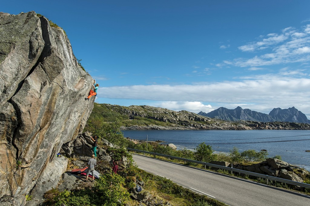 Carl Granlund highballing it on the first ascent of Fear of Temptation, near Svolvær.